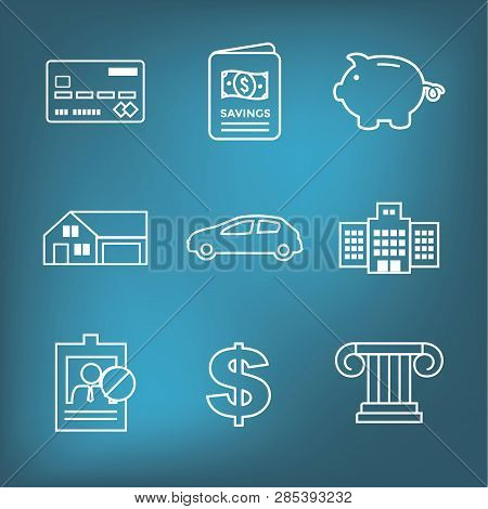 Financial Emergency Fund Icon Set With Insurance Home Auto And Pig