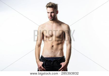 Confident in his attractiveness. Man handsome sexy undressing. Hipster sexy muscular torso take off clothes. Sexual performance. Feeling so hot. Seductive macho feeling sexy. Attractive sexy body poster