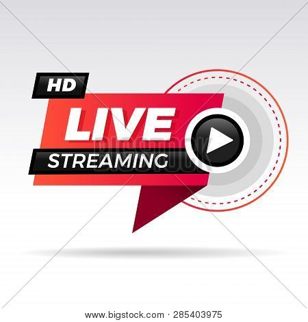 Live Streaming Logo - Red Vector Design Element With Play Button For News And Tv Or Online Broadcast
