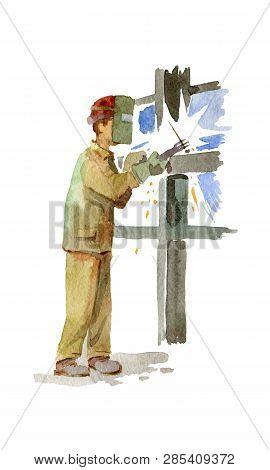 Metalworks. Welder At Work. Watercolor Sketch In The Style Of 80-ies.