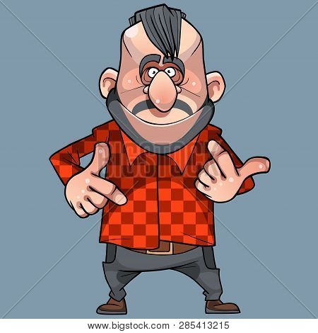 Cartoon Funny Cool Caucasian Man Gesticulates On His Fingers