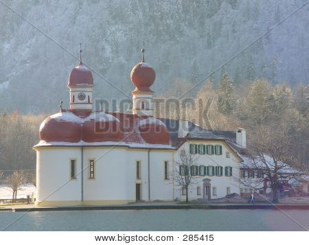 Church. Winter In Koenigsee. Germany, Bayern.