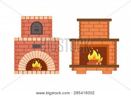 Fireplace Made Of Bricks, Redbrick Furniture Isolated Icons Set Vector. Stove With Metal Doors Burni