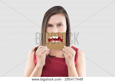 Asian Woman In The Red Shirt Holding A Brown Paper With The Broken Tooth Cartoon Picture Of His Mout