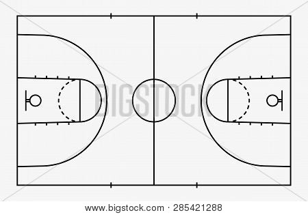 Basketball Court Floor With Line For Background. Basketball Field. Vector.