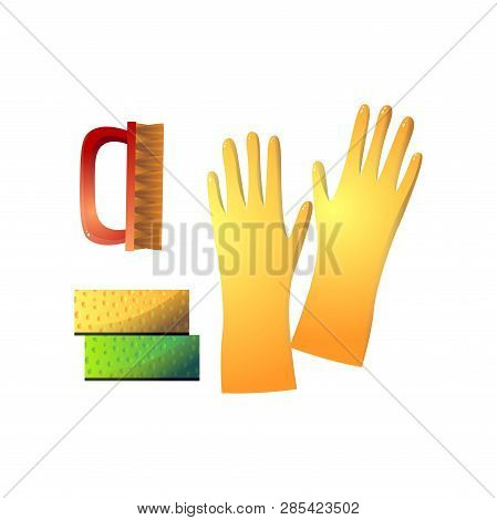 Useful Supplies For Housekeeping Such As Yellow Rubber Gloves, Red Stiff Brush And Two Sponge Isolat