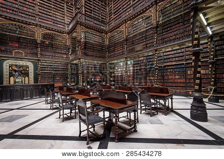 Rio De Janeiro, Brazil - February 19, 2019: Reading Room Of The Royal Portuguese Cabinet Of Reading.
