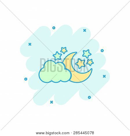 Vector Cartoon Moon And Stars With Clods Icon In Comic Style. Nighttime Concept Illustration Pictogr