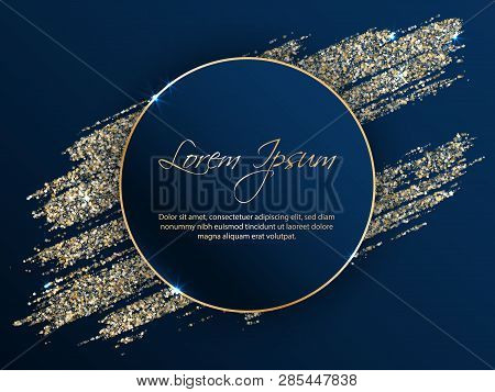 Black Vector Frame With Golden Glitter Brushstroke. Gold Sale Banner Template With Glossy Glitter Sp