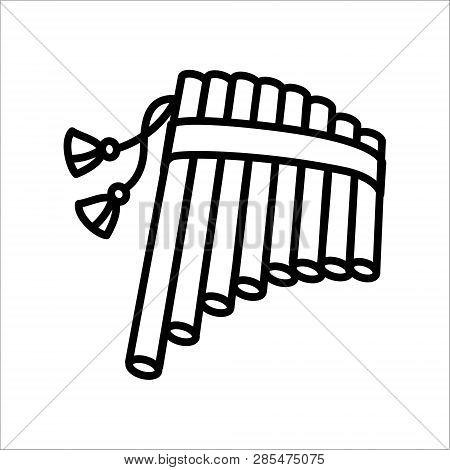 Vector illustration concept of harmonic flute music instrument. Black on white background poster