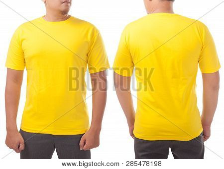 Yellow T-shirt Mock Up, Front And Back View, Isolated On White. Male Model Wear Plain Yellow Shirt M
