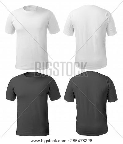 Blank Black And White Shirt Mock Up Template, Front And Back View, Isolated On White, Plain T-shirt