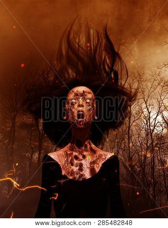 3d Illustration Of Ghost Woman Screaming In The Woods,scary Background Mixed Media