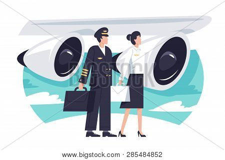 Flat Man And Woman Aircrew In Background Aircraft Engine. Concept Characters With Uniform, Service,
