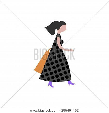 Modern Fashionable Woman Vector Illustration. Busy Girl In Dress Running, Walking, Doing Shopping. F