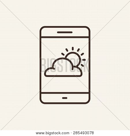 Weather Line Icon. Clouds On Mobile Screen On White Background. Mobile App Concept. Vector Illustrat