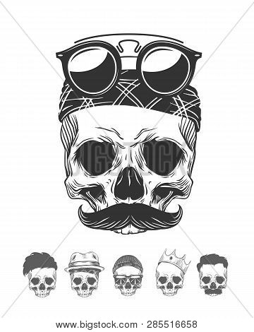 Vector Illustration Of Skull With Mustache In Bandanna And Sunglasses With Skulls Different Characte