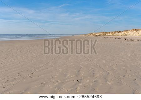French Landscape - Bretagne. Beautiful Sandy Beach And View Over The Sea.