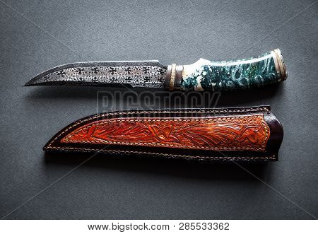 Hunter Combat Hand Made Knife Isolated On White Background A