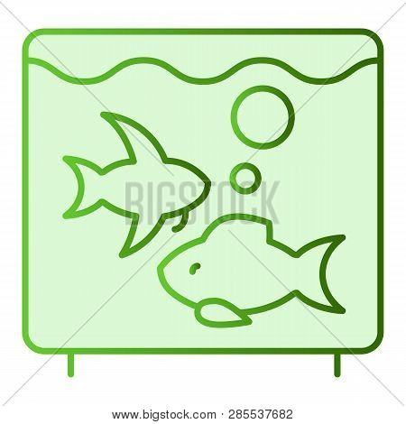 Aquarium Flat Icon. Fish In Aquarium Green Icons In Trendy Flat Style. Fishbowl Gradient Style Desig