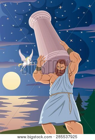 The Titan Atlas Supports The Heavens By Means Of A Pillar On His Shoulders. The Winged Horse Pegasus