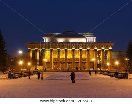 Night View On Novosibirsk Opera And Ballet Theate