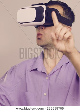 Business Man Wearing Virtual Reality Goggles Headset, Vr Box. Connection, Technology, New Generation