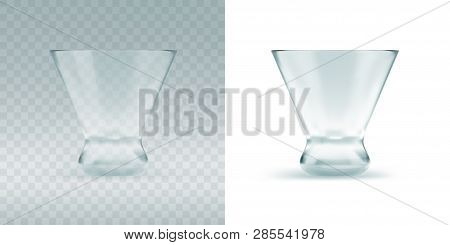 Empty Transparent Triangular Glass For Cosmopolitan Cocktail, Vermouth Or Drinking Shots At The Bar.