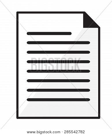 Paper Document Icon On White Background. Flat Style. Paper Document Icon For Your Web Site Design, L