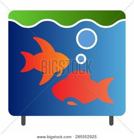 Aquarium Flat Icon. Fish In Aquarium Color Icons In Trendy Flat Style. Fishbowl Gradient Style Desig