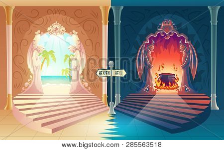 Afterlife Payoff Cartoon Vector Concept With Stairway To Heaven And Hell Gates With Praying Angels A