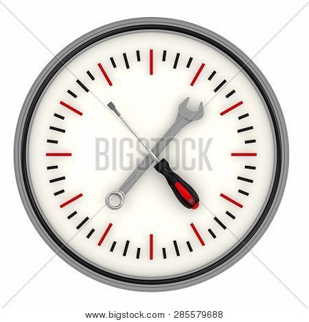 Repair Duration. Screwdriver And Wrench As The Arrows Of Clock Isolated On White Background. 3d Illu