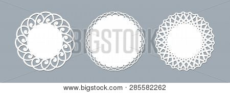 Lace Doily Laser Cut Paper Round Pattern Ornament Template Mockup Of A Round White Lace Doily Napkin