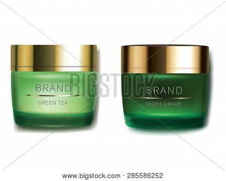 Day and night cosmetic cream for face skin care, realistic vector. Green glass jars with golden cap and revitalizing product, isolated on white background. Brand design for premium smart cosmetics poster