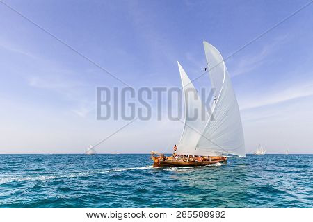 Abu Dhabi, Uae - February 10, 2018: Sailing Dhows Race Back To Abu Dhabi At 60 Feet Dhow Sailing Rac