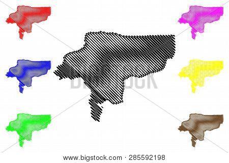 Isfahan Province (provinces Of Iran, Islamic Republic Of Iran, Persia) Map Vector Illustration, Scri