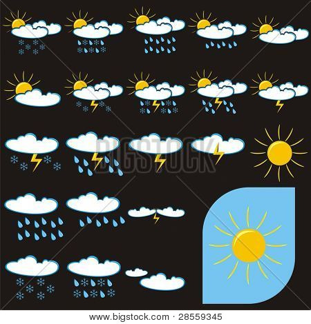 VECTOR - Set of Weather Icons (Sunny, Rainy, Cloudy, Stormy, Windy) - Symbols which can be used for weather indication & weather news - Attractive Set of Sun, Clouds, Rain, Snowflake, Thunder