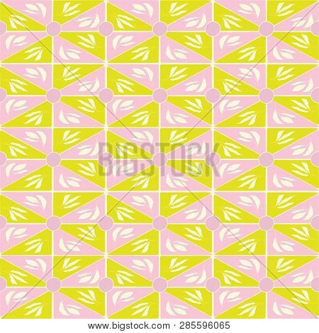 Hand Drawn Lime Green And Pink Geometric Triangle And Leaves Mosaic Design. Seamless Vector Pattern