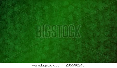 Beautiful Background With Many Little Green Trefoils For Happy St. Patrick Day. Vector Illustration