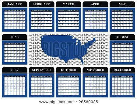 VECTOR - Calendar Design 2012 with US Map - Marine Blue and Black