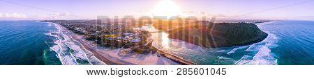 Wide Aerial Panorama Of Gold Coast Coastline At Sunset. Palm Beach, Gold Coast, Australia