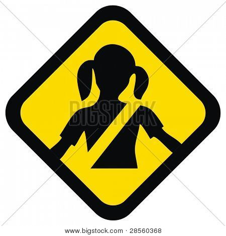 Warnung, dass Zeichen für Ihre Sicherheit Kind helfen, Sicherheitsgurt, das Kind Leben retten zu befestigen ist es mand
