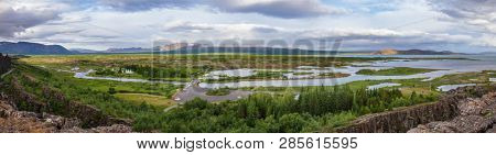 Panoramic view of Thingvellir national park, UNESCO World Heritage Site and one of the most popular tourist destinations on Golden Circle Tourist Route in Southwestern Iceland, Scandinavia