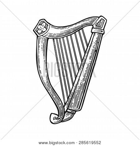 Lyre. Vector Vintage Engraving Black Illustration Isolated On White Background.