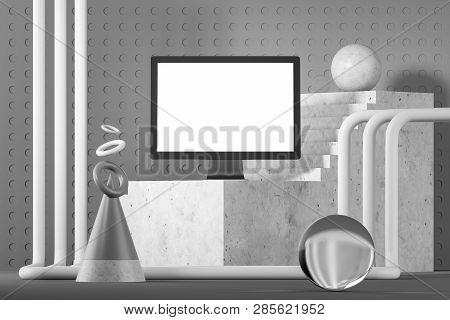 Mock Up Computer Screen, Gray Geometric Background