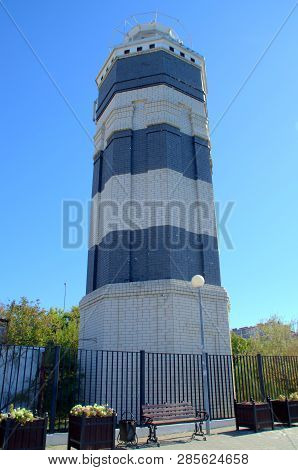 It Is A Large And High Lighthouse In Anapa