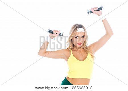 Think, female fitness instructor blonde shorts