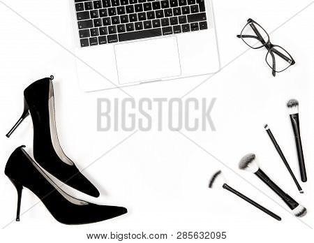 Notebook, High Heels Shoes, Feminine Accessories On White Background. Fashion Flat Lay For Blogger S