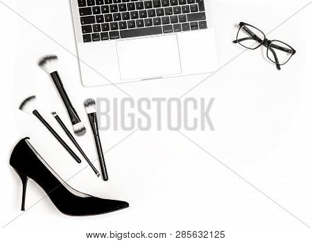 Fashion Flat Lay For Blogger Social Media. Notebook And Feminine Accessories On White Background