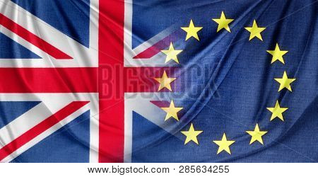 British and European Union flags. Brexit